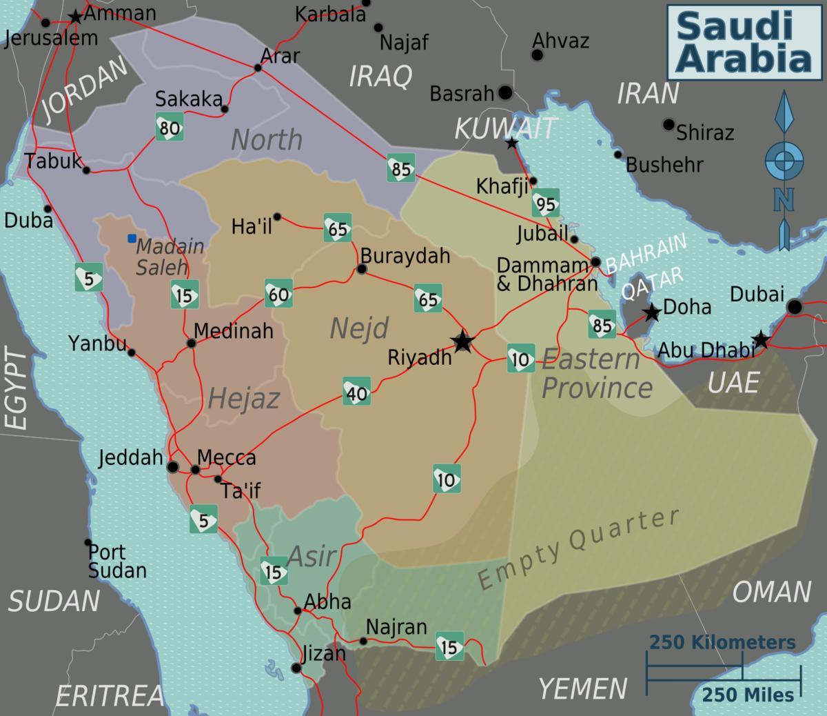 Kart Av Saudi Arabia Med Byer Avstand Kart Av Saudi Arabia Med