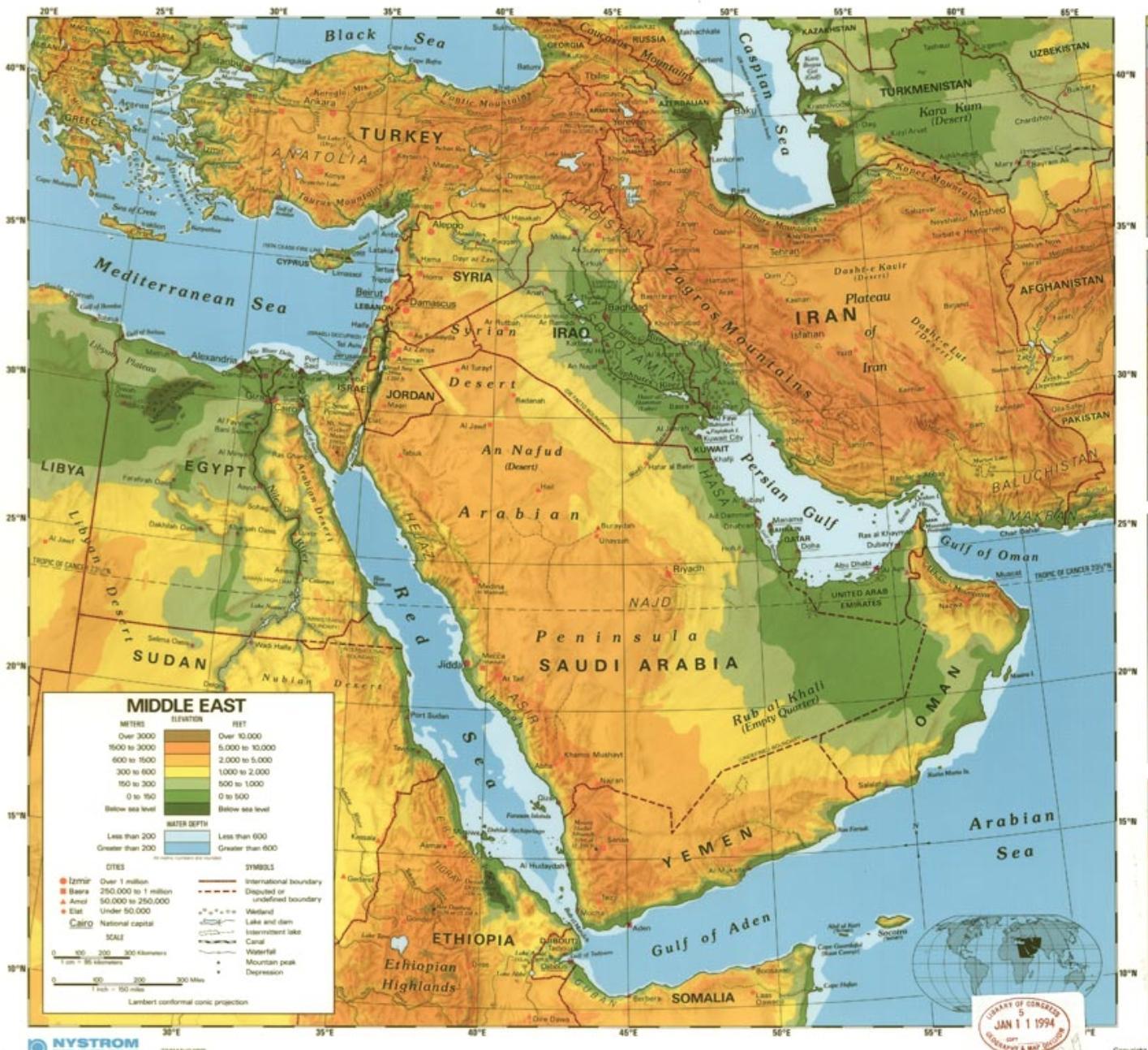 Saudi Arabia Orkenen Kart Kart Over Saudi Arabia Orkenen Vest