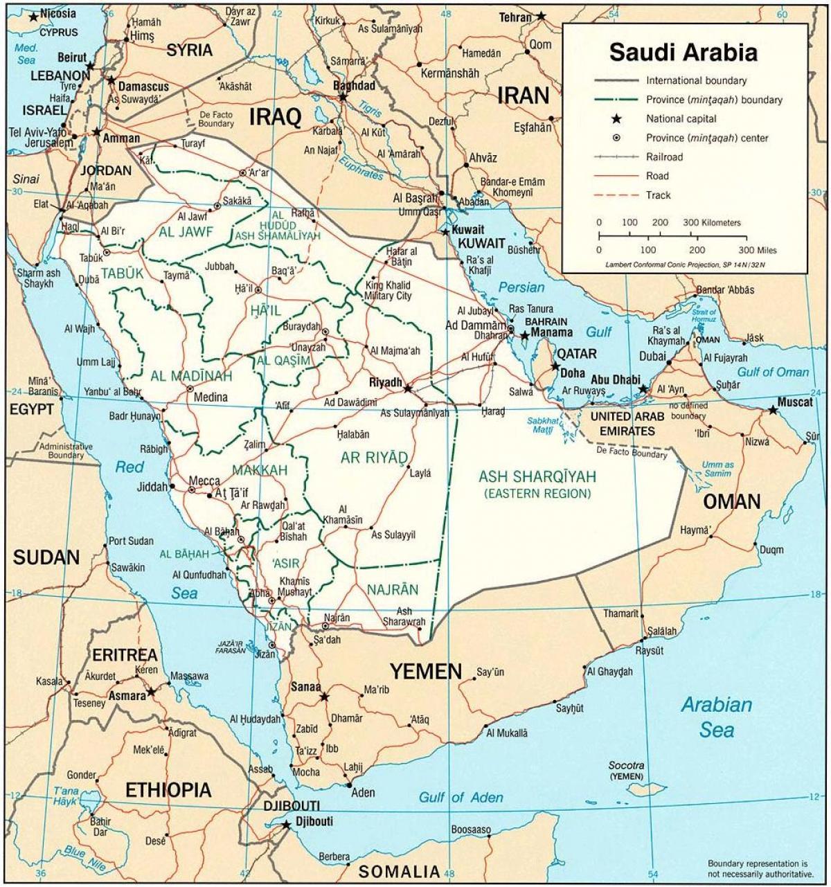 Saudi Arabia Politisk Kart Kart Over Saudi Arabia Politisk